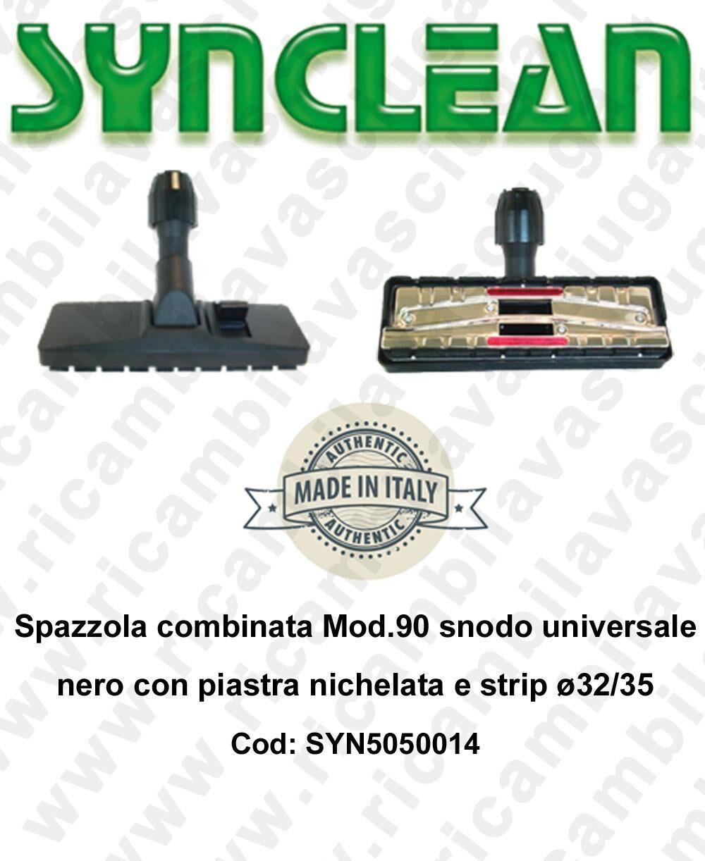 synclean spazzola combinata mod.90 snodo universale nero con piastra nichelata e strip ø32/35 mod: syn5050014