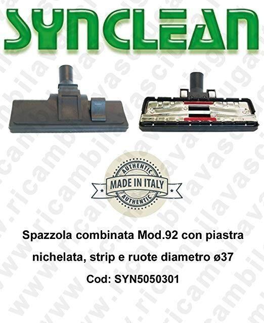 synclean spazzola combinata mod.92 con piastra nichelata, strip e ruote diametro ø37 cod: syn5050301
