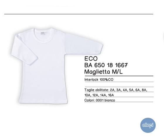 T-Shirt 100% Caldo Cotone Garzato Manica Lunga Colore Bianco