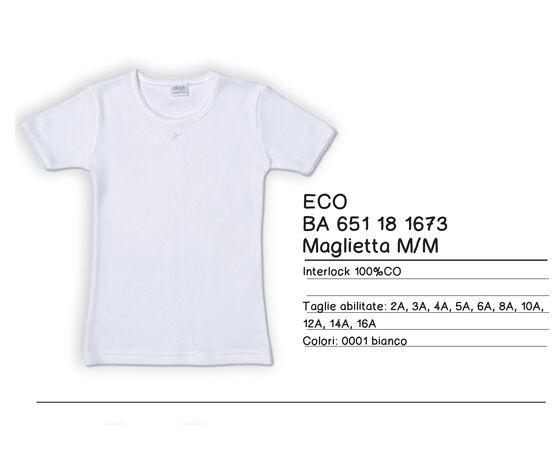 T-Shirt Mezza Manica 100% Caldo Cotone Garzato  Colore Bianco