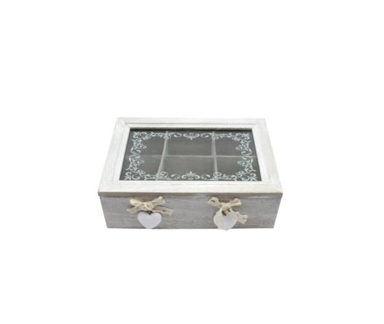 gicos porta bustine thè legno grigio complemento d'arredo