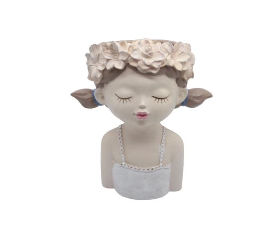 petite fantasie happy baby rosa, bianca, in resina, realizzato interamente a mano, complemento d'arredo cm23,5x14,5x27