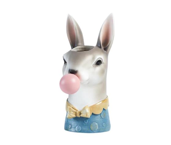 petite fantasie testa porta piante a forma di coniglio grigio e blu cm13,8x10,2x22