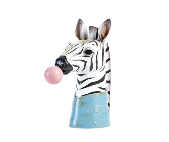 petite fantasie testa porta piante in resina a forma di zebra nero, bianco  8x18x23cm
