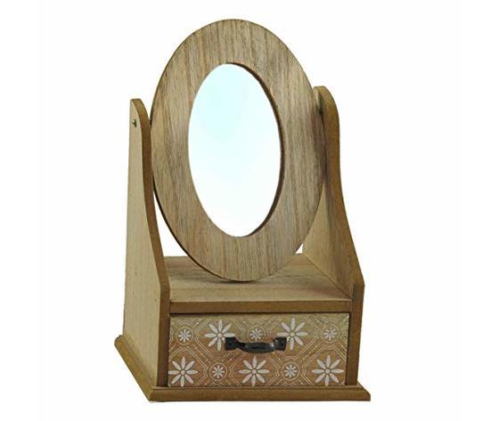 gicos porta gioie gioielli mobiletto in legno con specchio e cassetto 19x11x27 cm