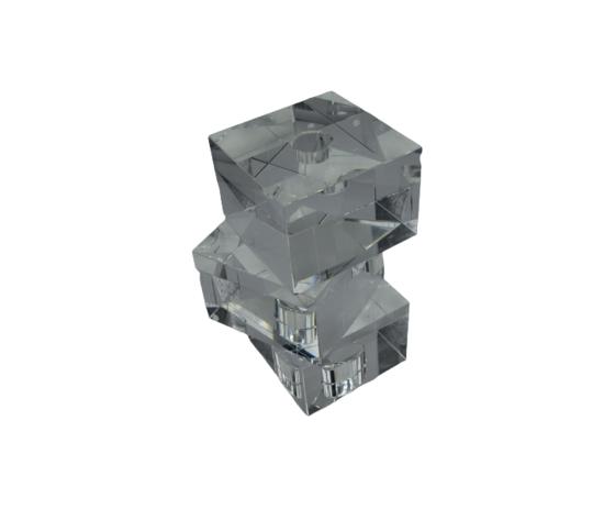 TUFANO CRISTAL Candeliere Cubo A Tre Piani Cristallo Complemento D'Arredo 30x15cm