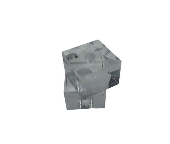 TUFANO CRISTAL Candeliere Due Cubi Cristallo Complemento D'Arredo 13x13cm