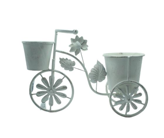 gicos porta piante a forma di bicicletta, materiale in ferro, vintage, realizzato interamente a mano cm38xh28x15, Ø13, Ø10