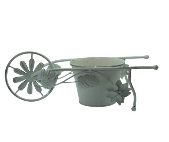gicos porta piante a forma di carriola, materiale in ferro, vintage, realizzato interamente a mano, cm43xh16x16, Ø15