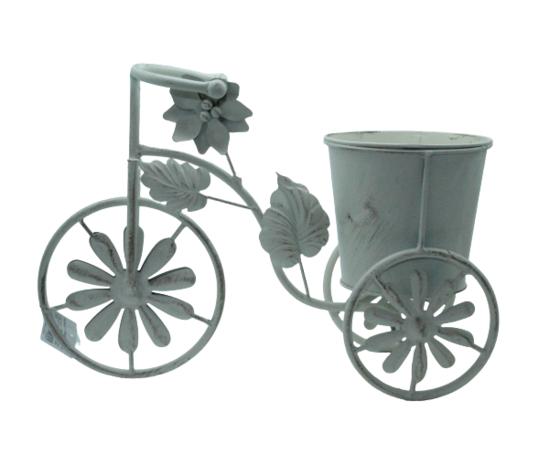 gicos porta piante a forma di bicicletta, materiale in ferro, vintage, realizzato interamente a mano, cm36xh25x15, Ø15
