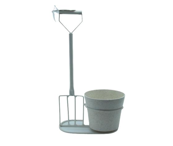 gicos porta piante a forma di forca, materiale in ferro, vintage, realizzato interamente a mano, cm16xh31x8,  Ø11