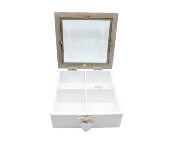 gicos porta bustine thè legno bianco e vetro complemento d'arredo