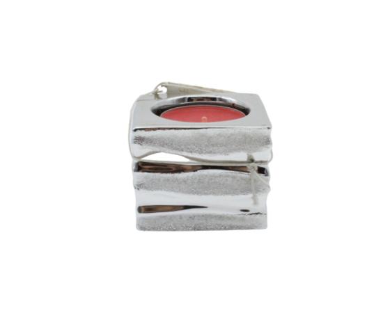 moda argenti porta candela cubo argento complemento d'arredo