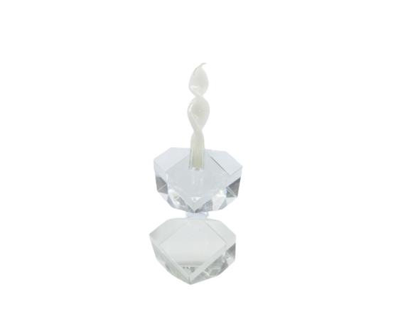 TUFANO CRISTAL Candeliere Due Cubi Cristallo Grande Complemento D'Arredo 19x11cm