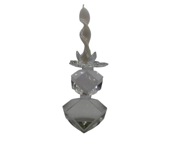 TUFANO CRISTAL Candeliere Due Cubi Cristallo Complemento D'Arredo 21x12cm