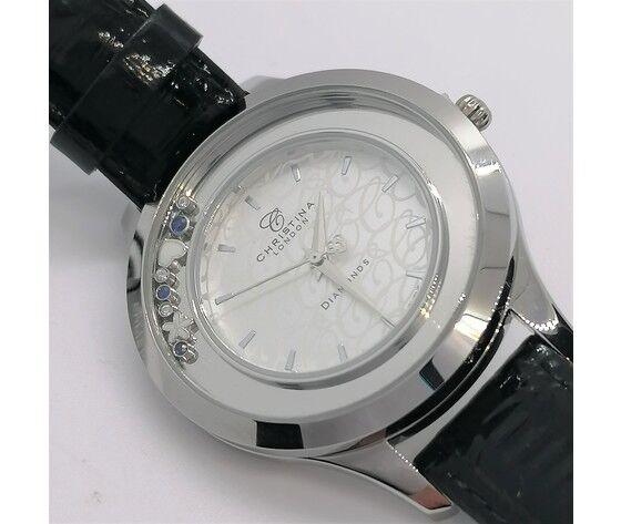 christina orologio donna   cassa acciaio inossidabile  con diamanti e zaffiri blu, cinturino in pelle