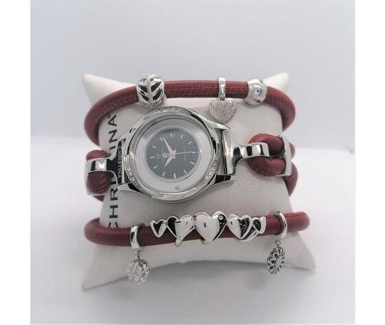 Orologio/bracciale Christina  Cassa Acciaio Inossidabile  Con Diamanti Cinturino In Pelle