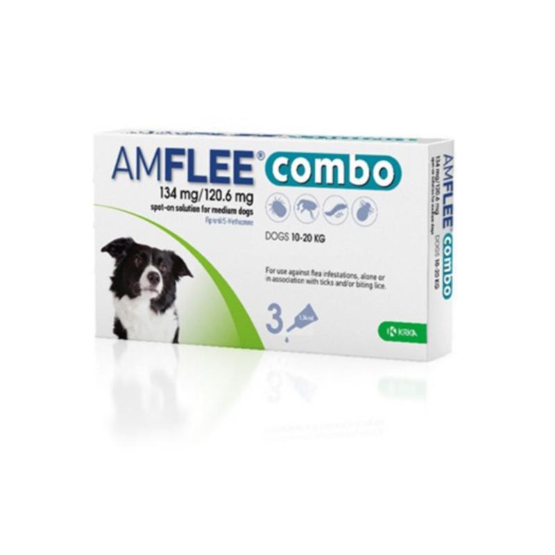 krka-farmaceutici Amflee Combo 134 Mg/120,6 Mg Soluzione Spot-On Per Cani Di Taglia Media