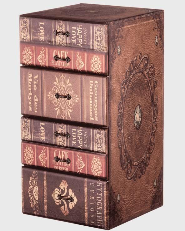 Mobili Rebecca Cassettiera portagioie marrone a libro con 4 cassetti