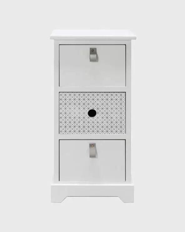 Mobili Rebecca Comodino con 3 cassetti bianco per camera da letto classica