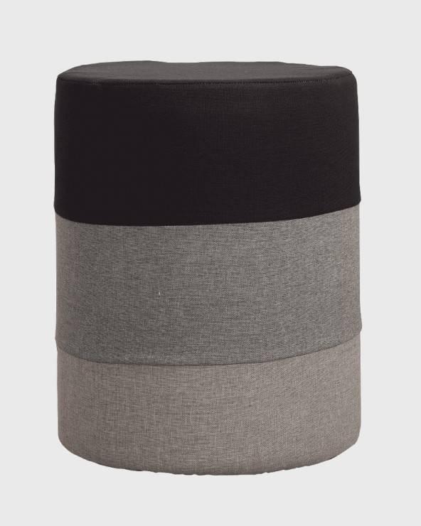 mobili rebecca pouf rotondo imbottito a righe nero grigio e beige