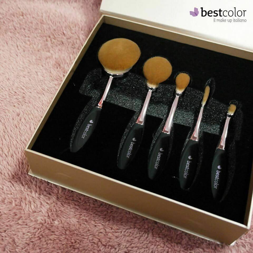 bestcolor set pennelli professionali trucco 5 pezzi pennelli ovali make up brush per contouring kit 3 oval + 1 linear + 1 circle
