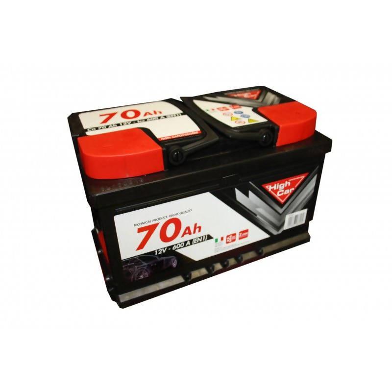 high car batteria auto da 70ah 600a 12v polo positivo destro cassetta l1 l3b high car