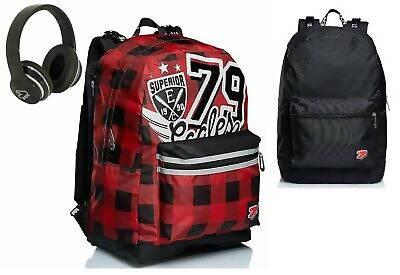 seven zaino scuola seven reversibile college boy rosso con cuffie zaino scuola rosso e nero
