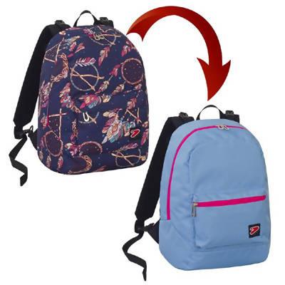 seven zaino scuola seven reversibile the double dreamy con cuffie stereo 27 lt zaino scuola fantasia e azzurro