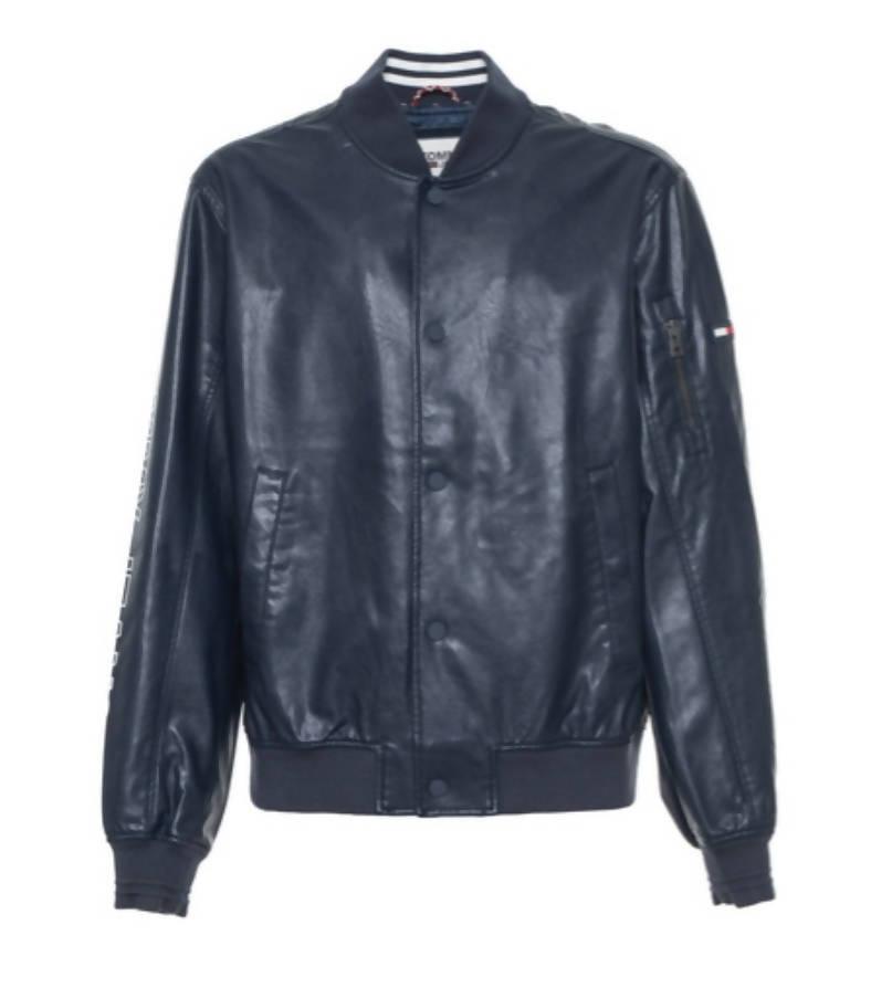 tommy hilfiger bomber eco pelle uomo blu scuro giacca in pelle sportiva con tasche e bottoni giubbino moto hilfiger dm0dm04558-002