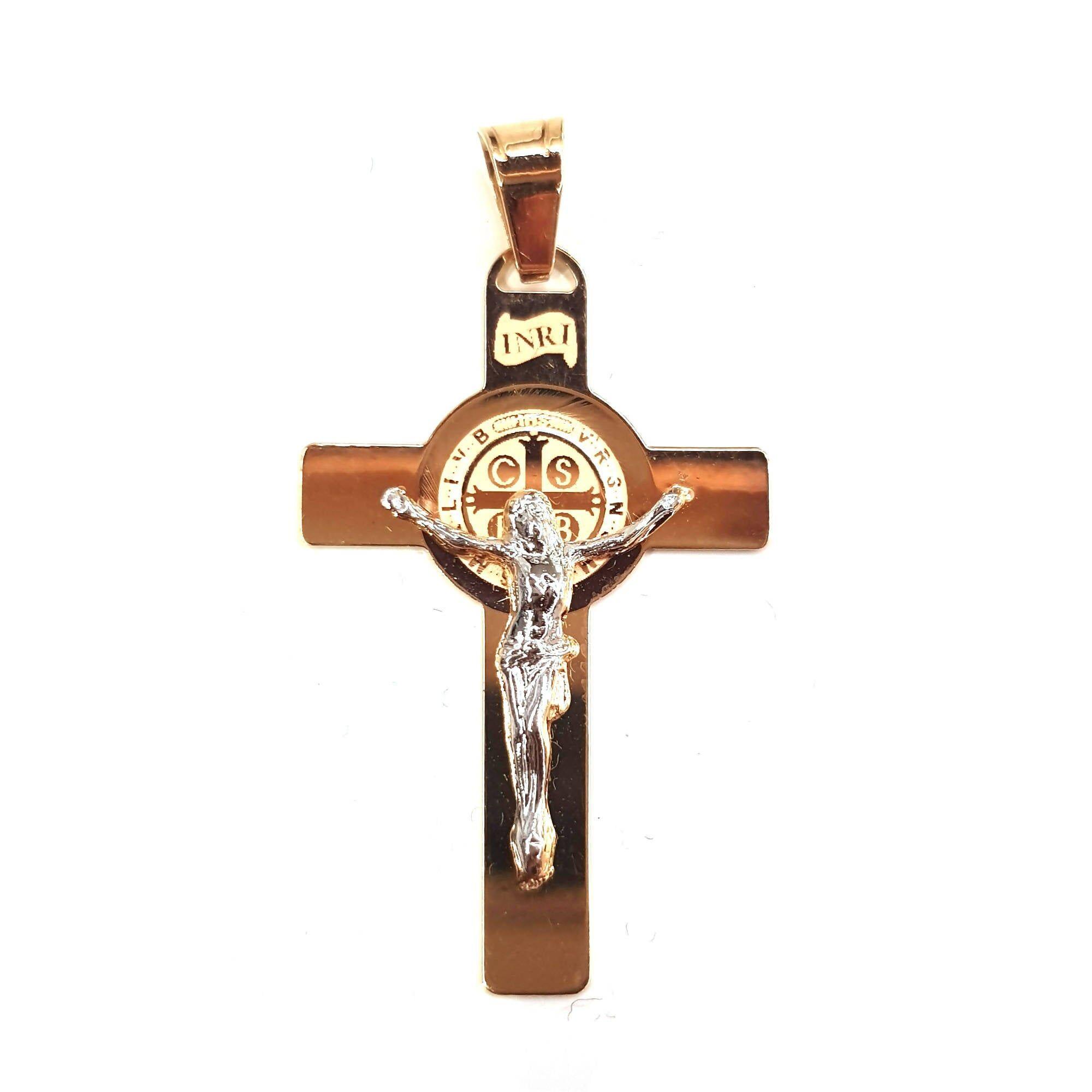 E B Gioielli - Siderno Croce San Benedetto in oro giallo 750/1000 Pendente Religioso con Gesù Cristo a contrasto in Oro Bianco