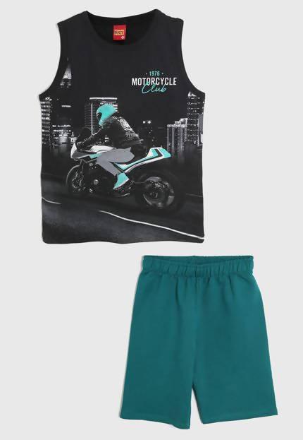 kyly completino tuta estiva bambino nero verde stampa moto completo coordinato bimbo estivo canotta stampata pantaloni corti set 2 pezzi estate
