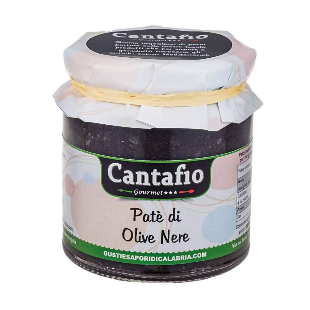 Cantafio Gourmet Paté di olive nere Artigianale crema spalmabile alle olive nere per bruschette CANTAFIO GOURMET® prodotto tipico Calabrese 280gr