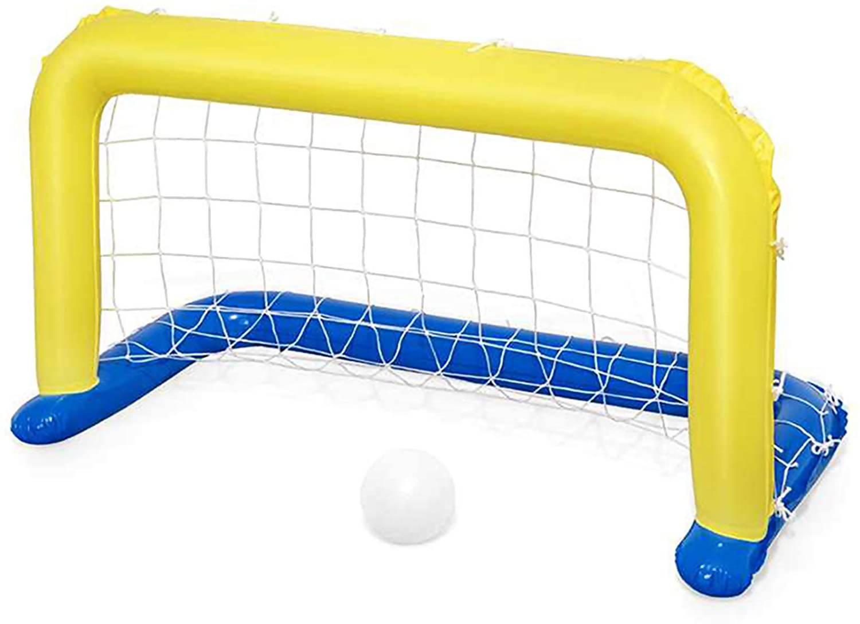 bestway porta galleggiante piscina water polo con palla blu -giallo rete pallanuoto porta pallone gonfiabile valvola sicurezza bestway gioco per piscine