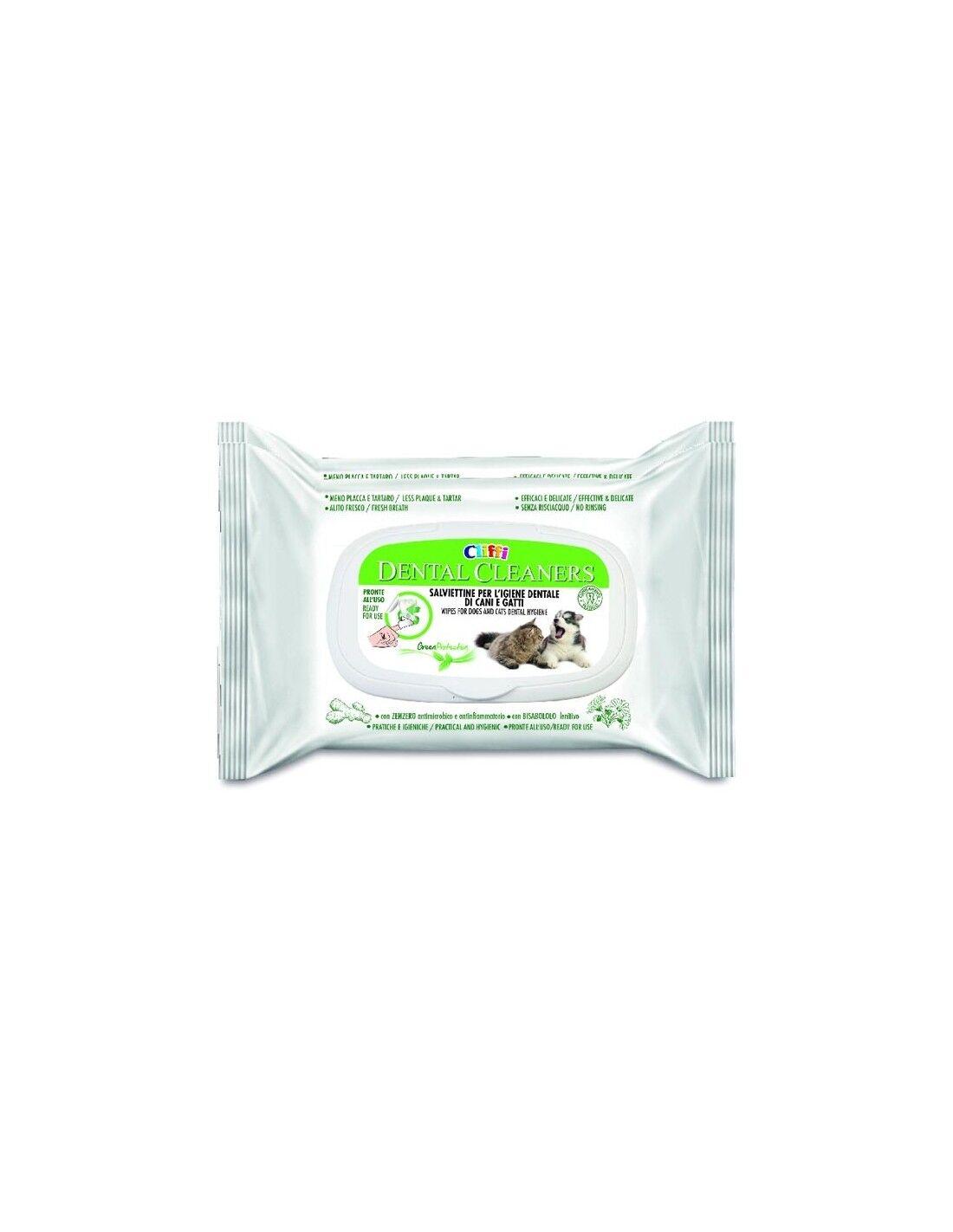 cliffi 20 salviettine per igiene orale dental cleaners per cani e gatti