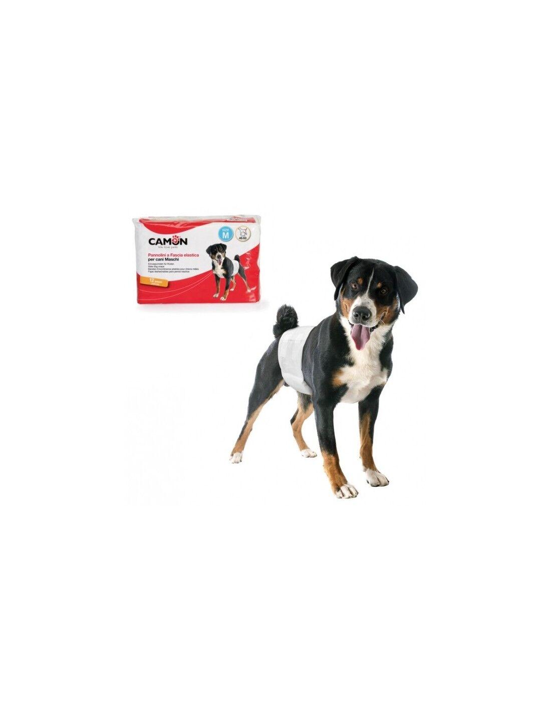 camon pannolini a fascia elastica per cani maschi diam. 60/80cm 12 pezzi taglia l