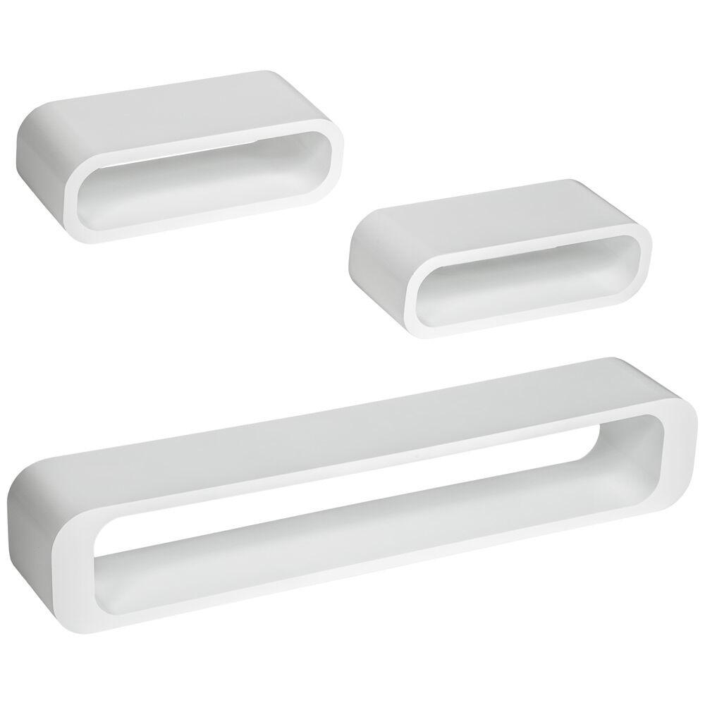tectake set di 3 mensole Liv - bianco
