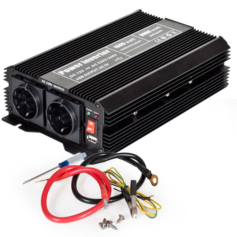 tectake trasformatore di tensione da 12 V a 230 V 1500 W 3000 W - nero
