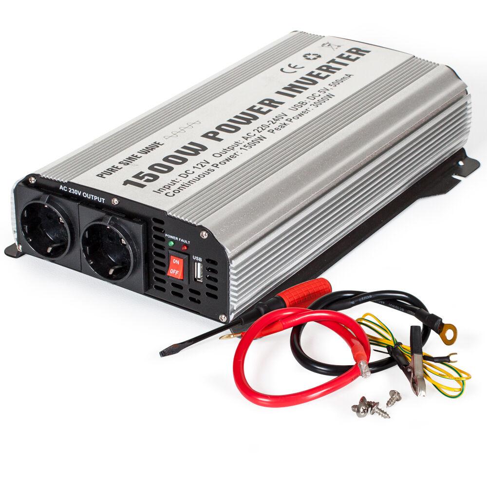 tectake trasformatore di tensione a onda sinusoidale da 12V a 230V 1500W 3000W - grigio