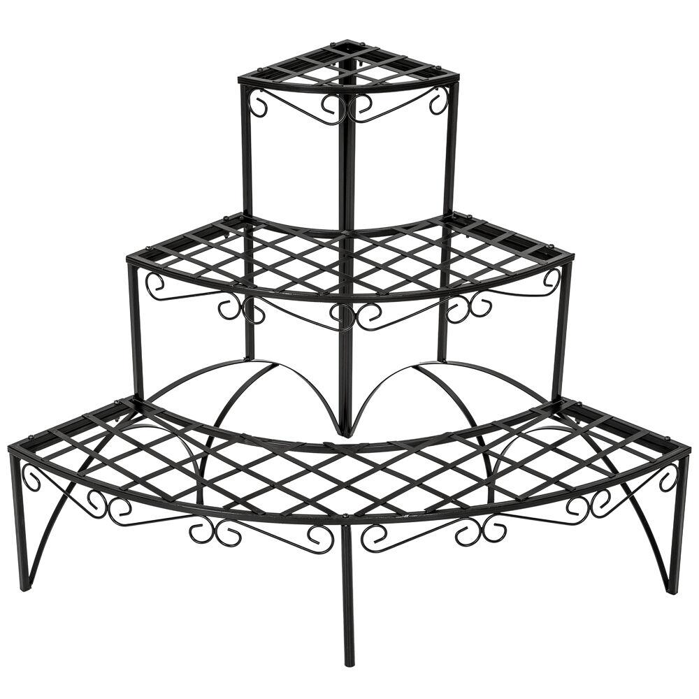 tectake scaffale per piante, rotondo, a 3 piani - nero