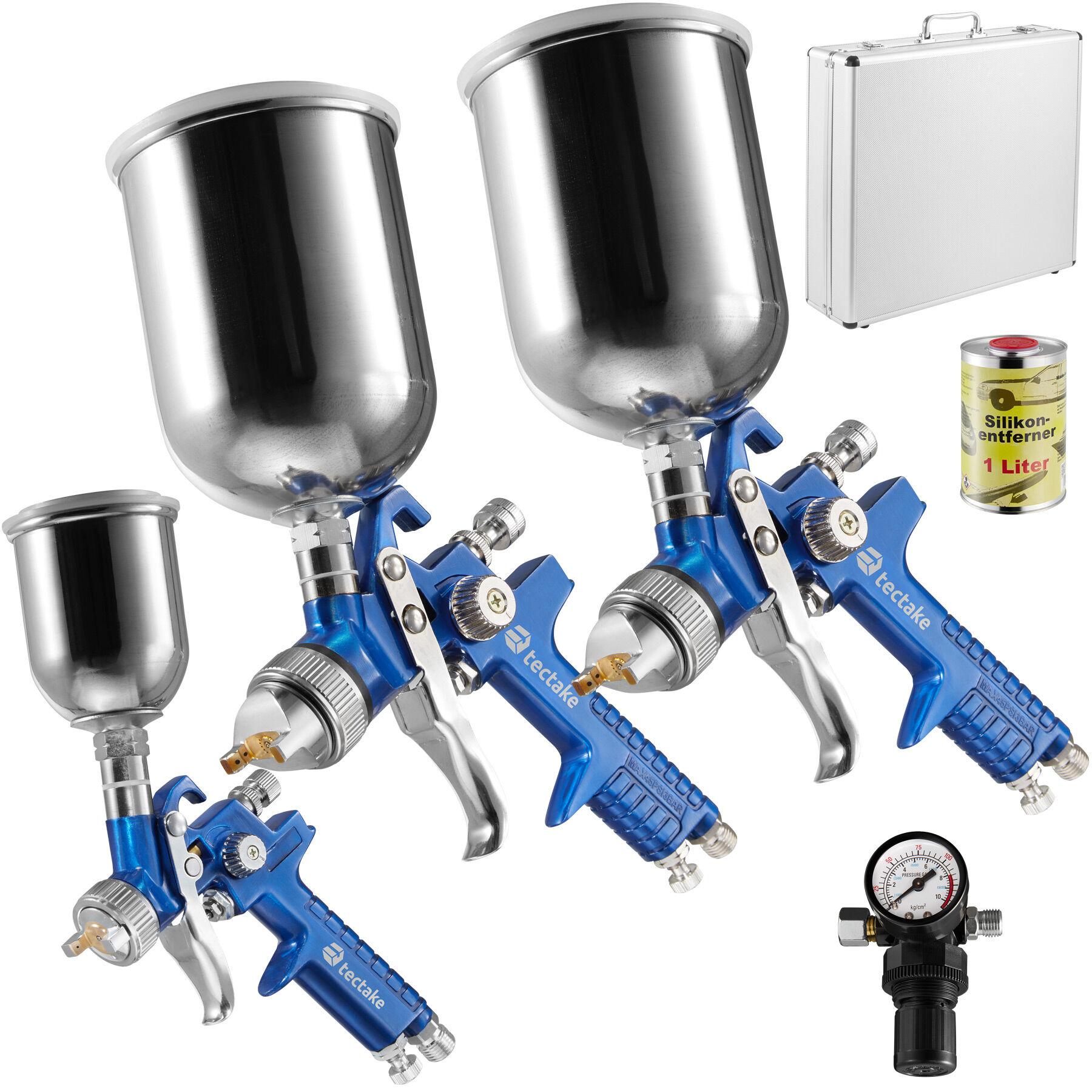 tectake 3 pistole per verniciare hvlp (0,8 + 1,3 + 1,7 mm) + valigetta + sciogli silicone - blu