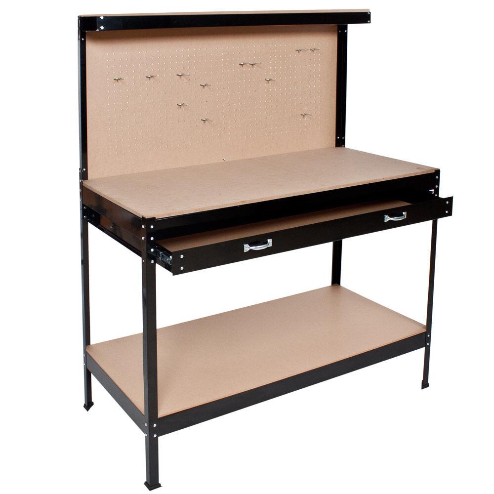 tectake banco da lavoro con cassetto - 120 x 60 x 156 cm