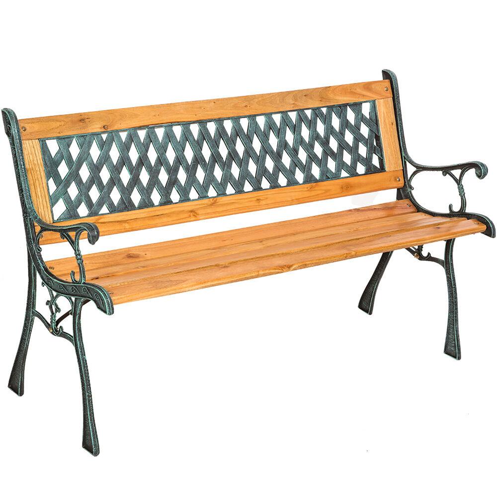 tectake panchina da giardino tamara, in legno e ghisa - marrone
