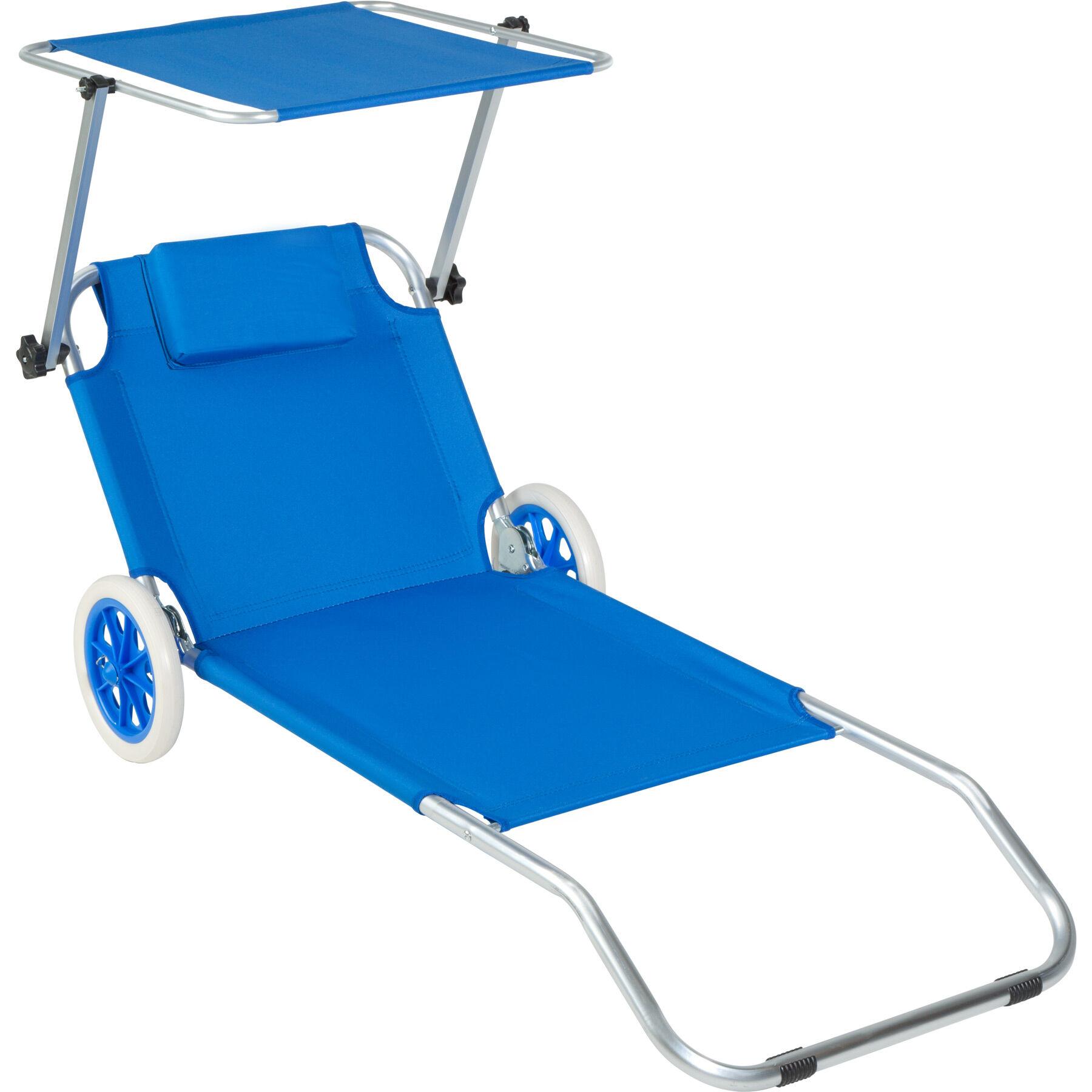 tectake lettino da spiaggia in alluminio antonia - blu