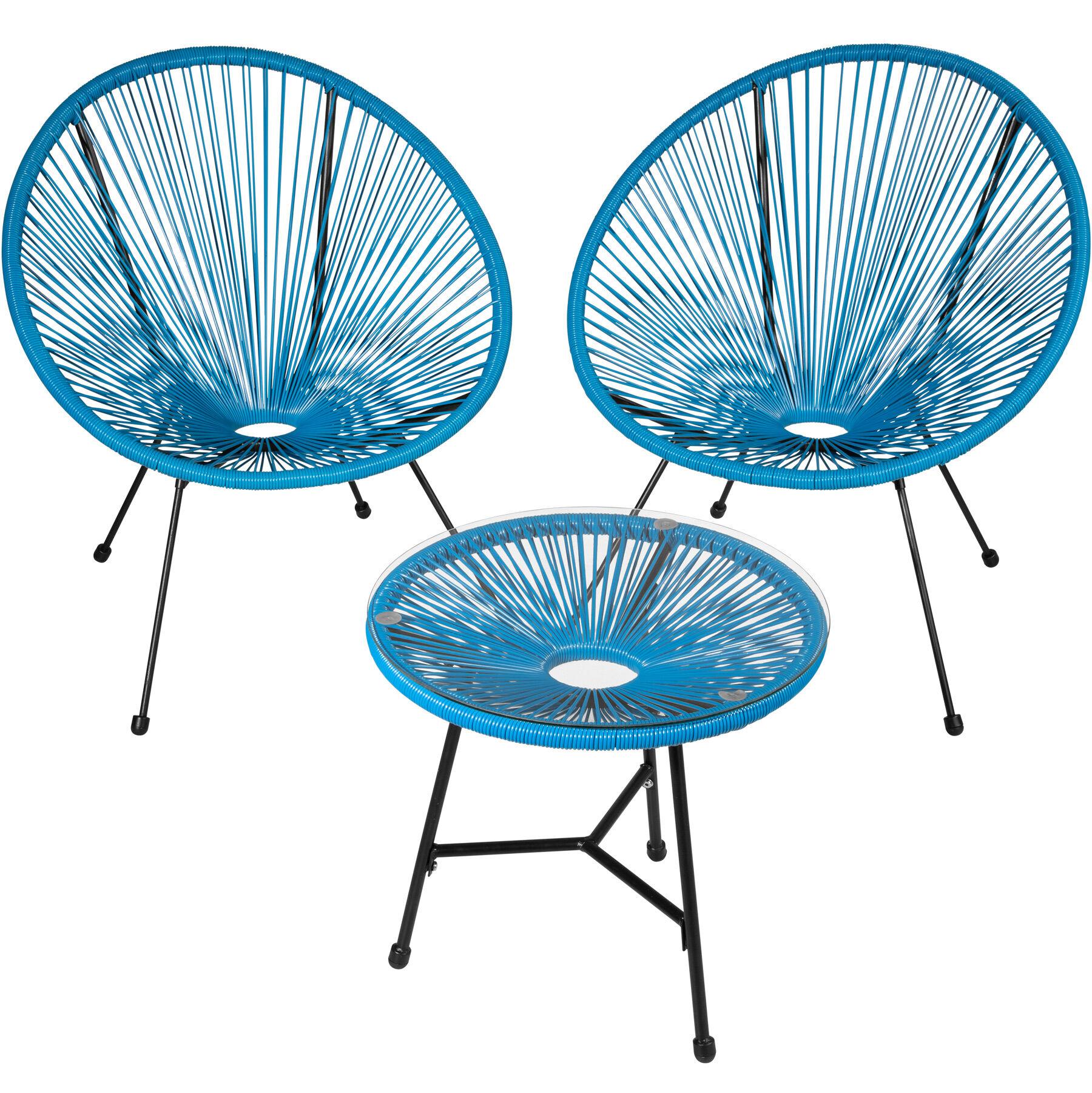 tectake set di 2 sedie gabriella con tavolo - blu