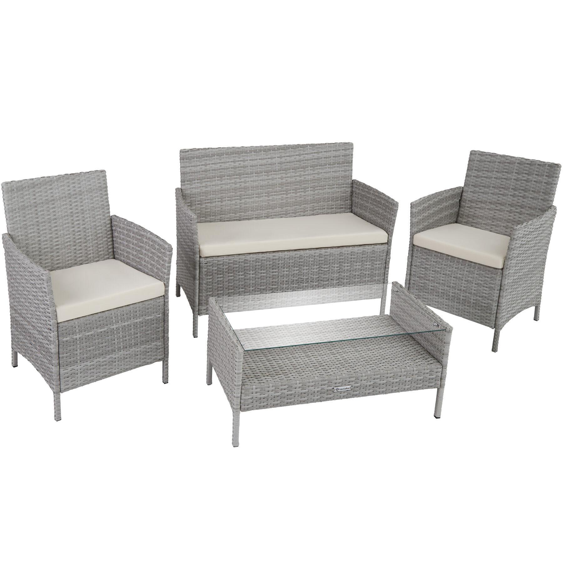 tectake set da giardino in rattan madeira - grigio chiaro