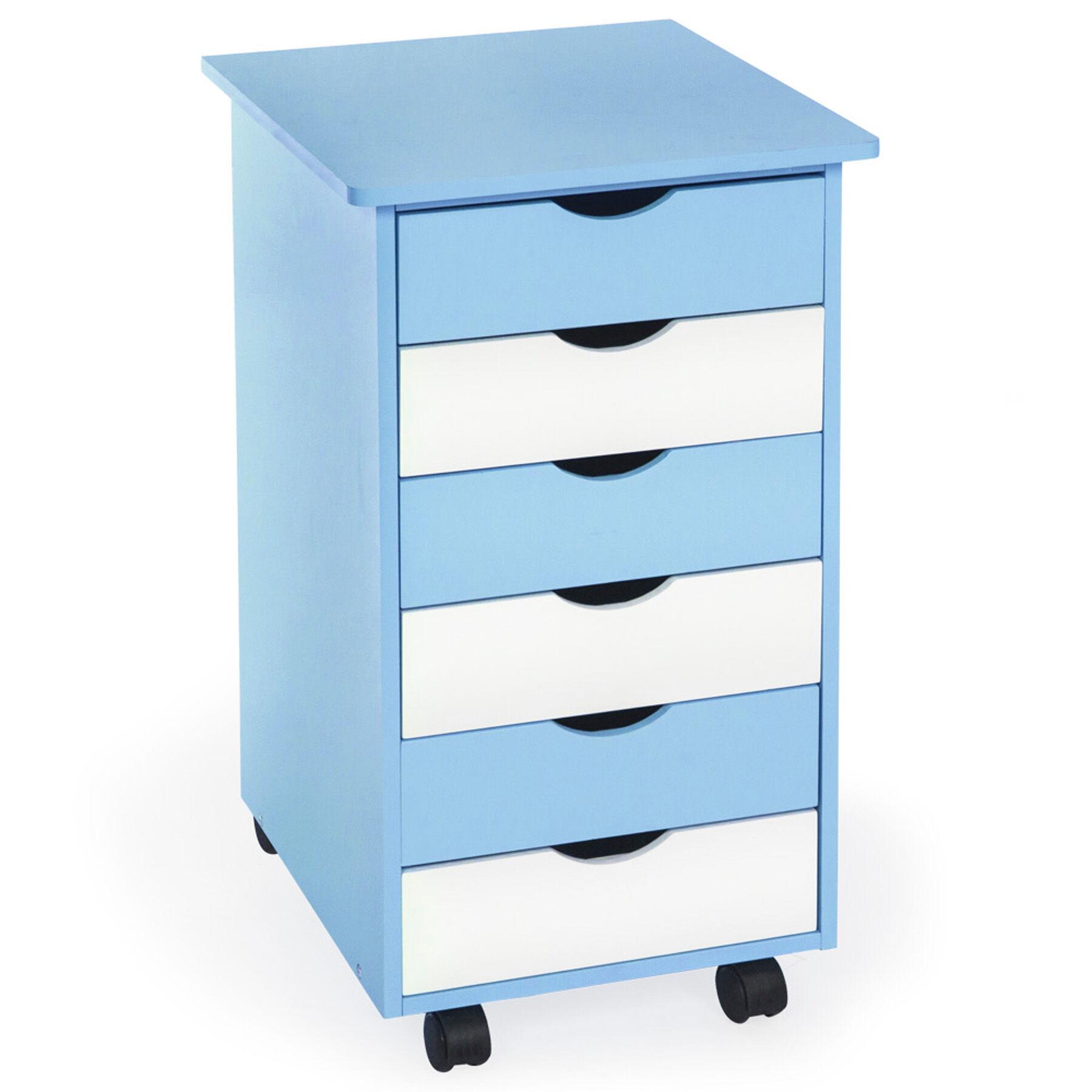 tectake cassettiera a rotelle con 6 cassetti - blu