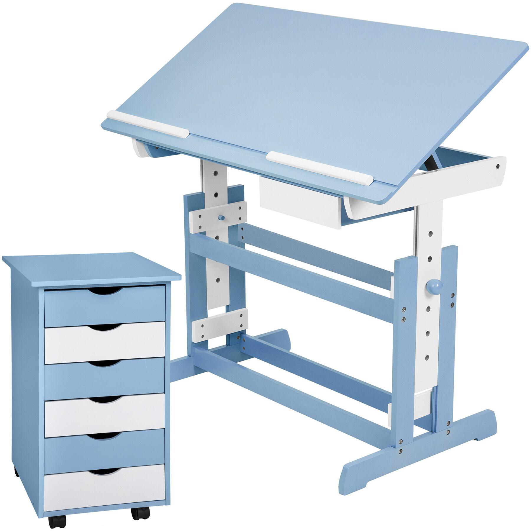 tectake Scrivania per bambini e cassettiera a rotelle - blu