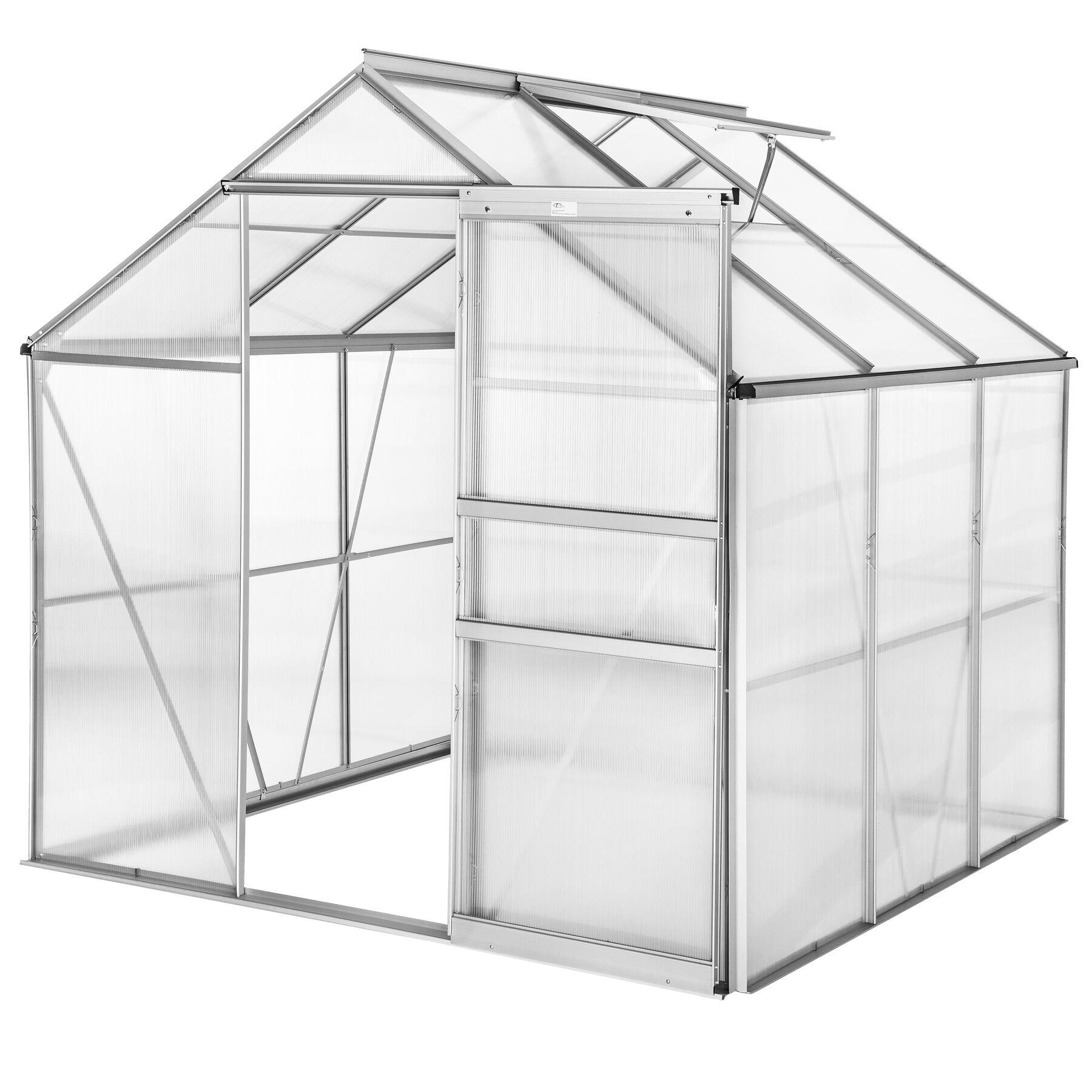 tectake serra in alluminio e policarbonato senza fondamenta - 190 x 185 x 195 cm