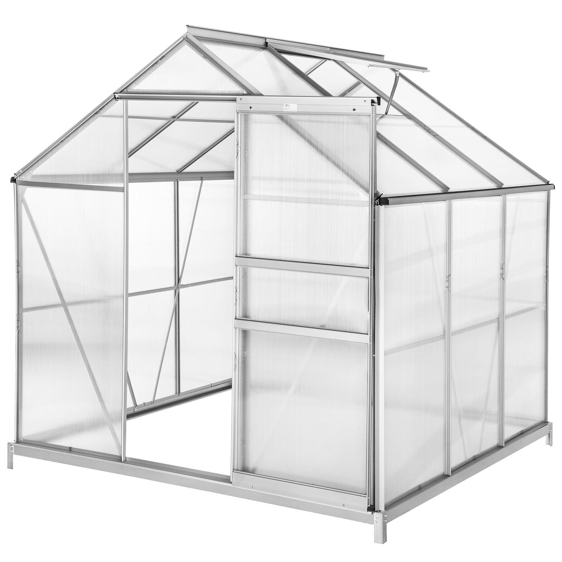 tectake serra in alluminio e policarbonato con fondamenta - 190 x 185 x 195 cm